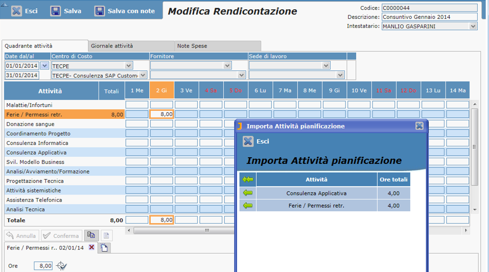 Rendicontazione ore attivita personale timesheet Hr MODIFICA